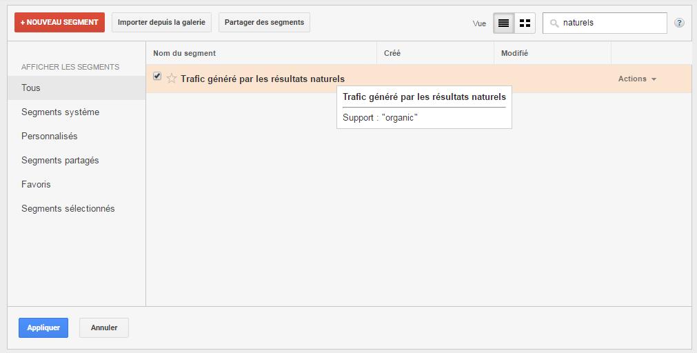 segment trafic naturel google analytics