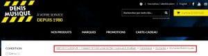 Exemple de fil d'Ariane site Web Denis Musique